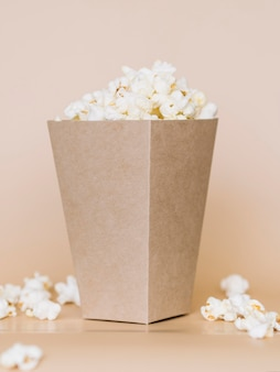 Close-up delicious popcorn box ready to be served