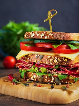Close-up of delicious sandwich with salami, cheese and fresh vegetables .