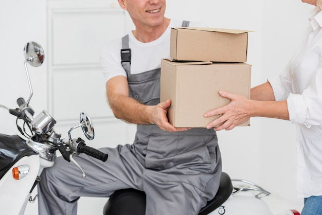 Close-up delivery of packages