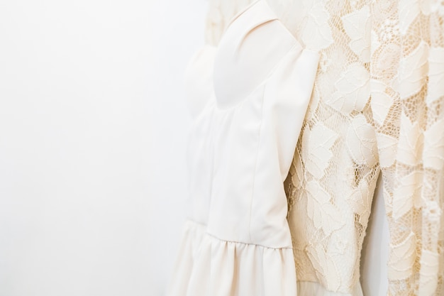 Close-up of designer clothes in shop