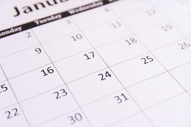 Close up desk calendar page background