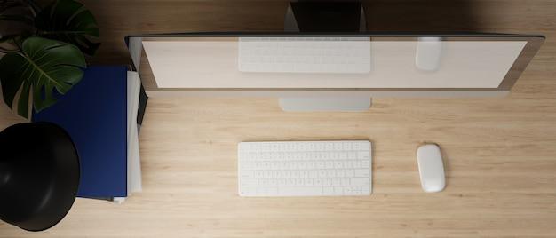 Закройте макет пустого экрана настольного компьютера на деревянном столе 3d-рендеринга