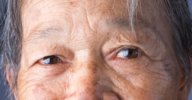 Close-up detail of eye asian woman.brown color eye.old woman's eyes.select eye focus.