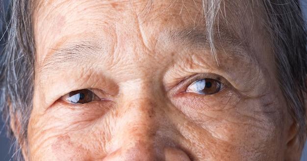 Крупным планом деталь глаз азиатской женщины. коричневый цвет глаз. глаза старой женщины. выберите фокус глаз.