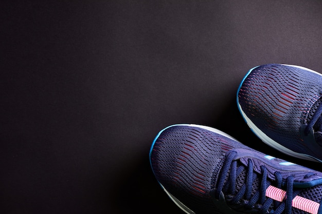 Close up detail training shoes. sneaker texture. new unbranded sport running shoes or sneakers.