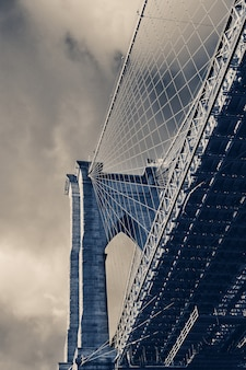 Close up detail view at brooklyn bridge, new york,