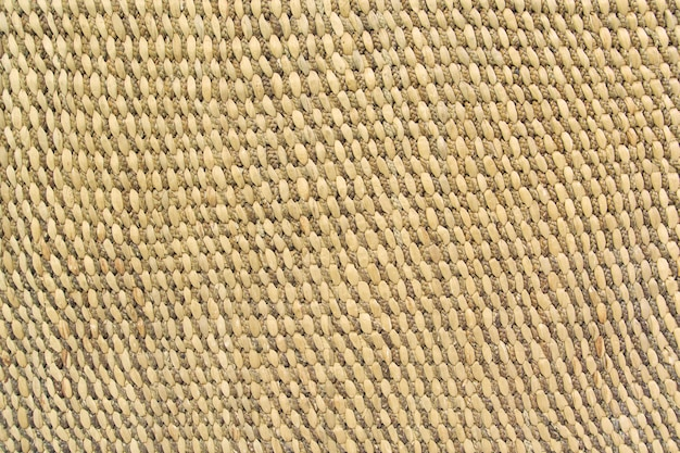 Close up detail view of a wicker basket weave