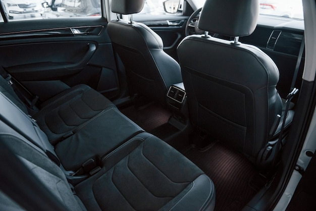 Close up detailed view of interior of brand new modern car.