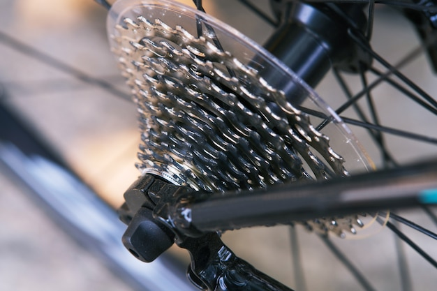 Close up of details bicycle's gear set, rear bike cassette