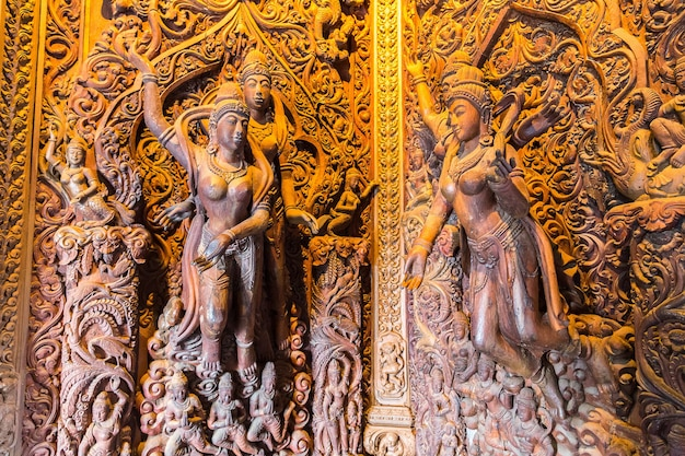 Close up of details in sanctuary of truth in pattaya thailand