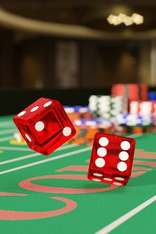 Close up of dice rolling on a craps table. gambling concept. 3d illustration.