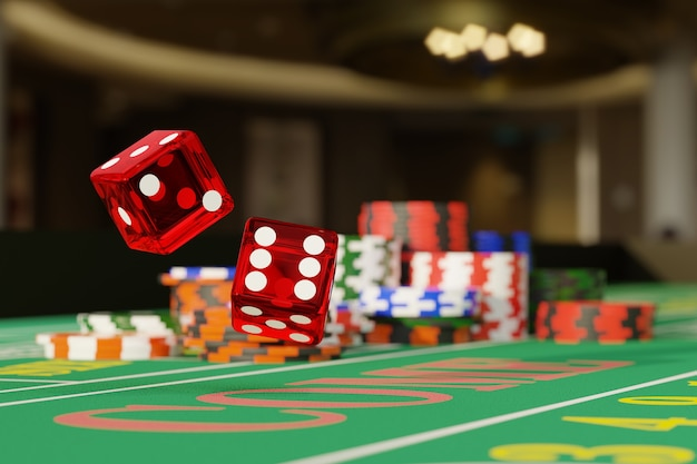 Close up of dice rolling on a craps table. gambling concept.