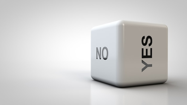Close-up dice with answer options. the answer is yes or no.