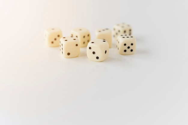 Close up dices on white background