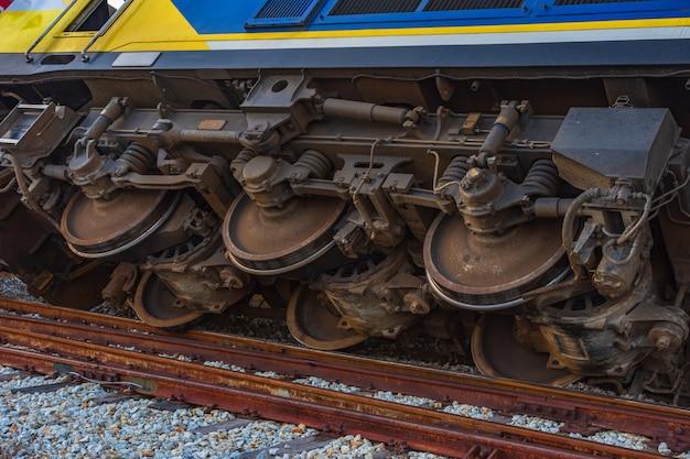 Close up diesel electric locomotive accident.