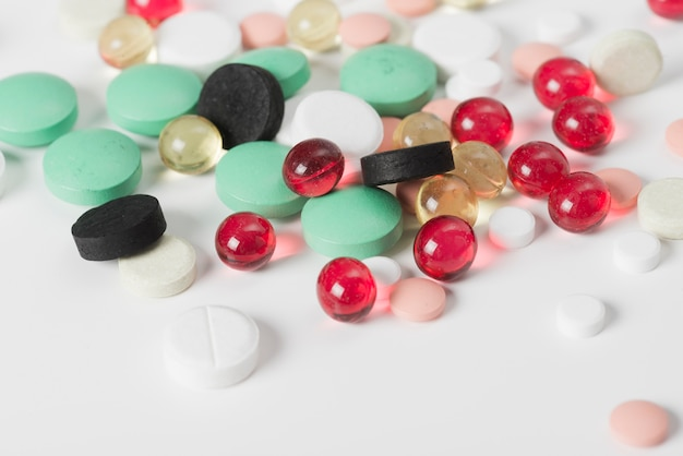 Close-up different colorful pills