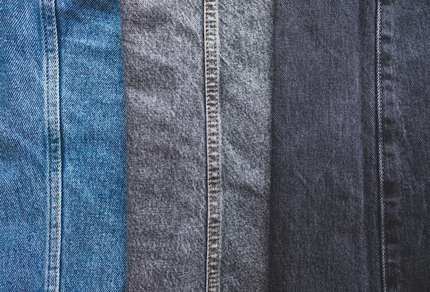 Close up on different colours of jeans