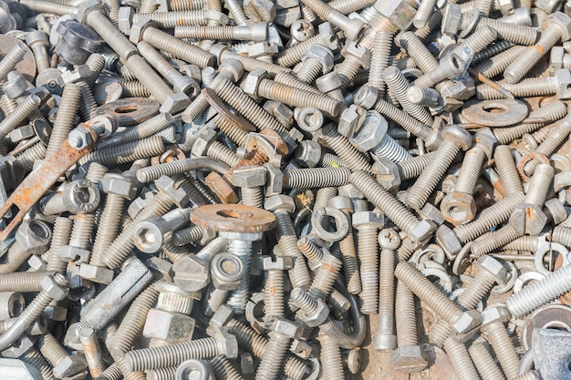 Close up of different old bolts,screw and nuts