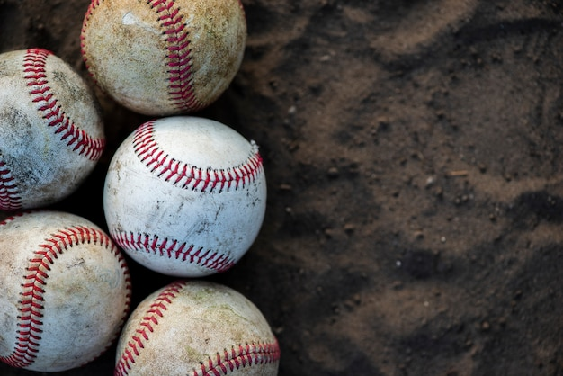 Close-up of dirty baseballs with copy space