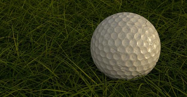 Закройте грязный мяч для гольфа в грубой форме. 3d иллюстрации