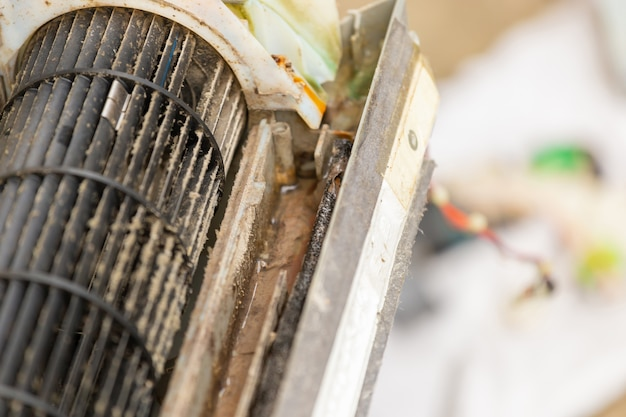 Close up of dirty inside compartments air conditioner