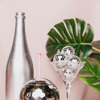 Close-up of disco ball glass
