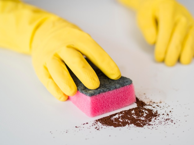 Close-up disinfecting house with sponge