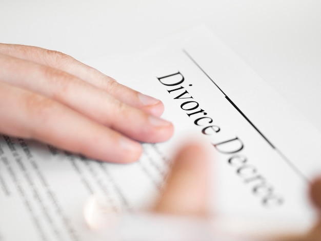 Close-up divorce contract agreement