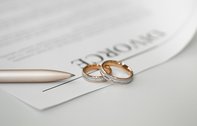 Close-up divorce contract with rings