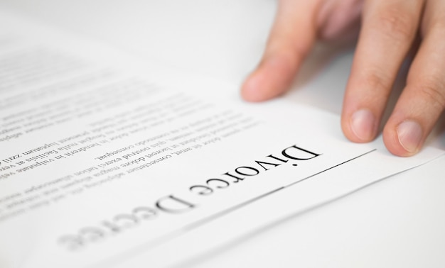 Close-up divorce contract