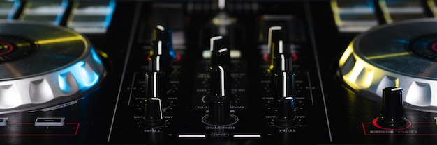 Close-up dj control panel equipment