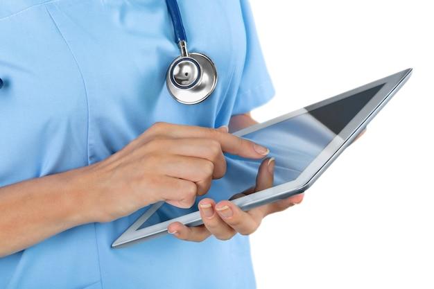 태블릿 pc를 사용 하는 병원에서 클로즈업 의사