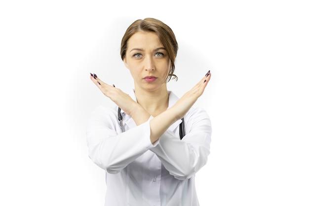 진지하고 자신감있는 표정으로 금지의 표시를하고 의사를 닫습니다