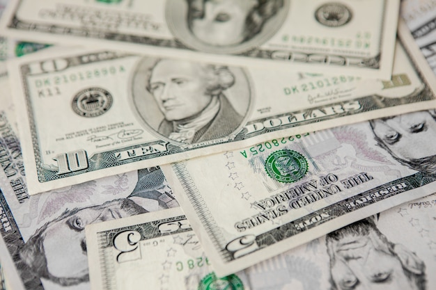 Close up on dollar bills texture background