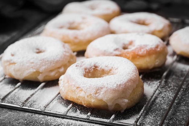 Close-up donuts with sugar powder