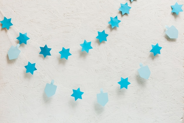 Close-up dreidel and stars collection