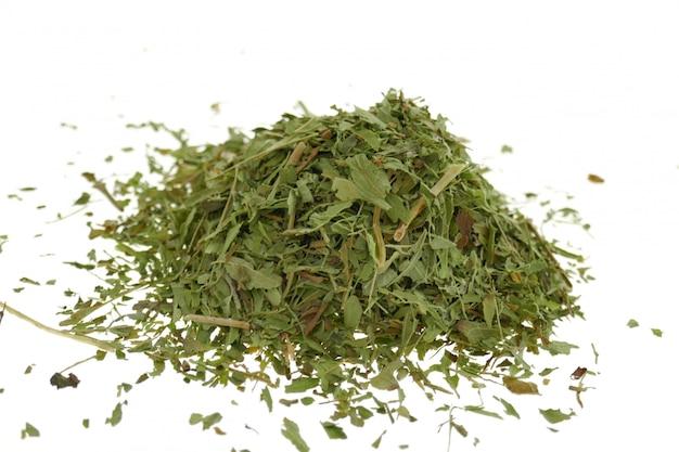 Close-up dried stevia leaves