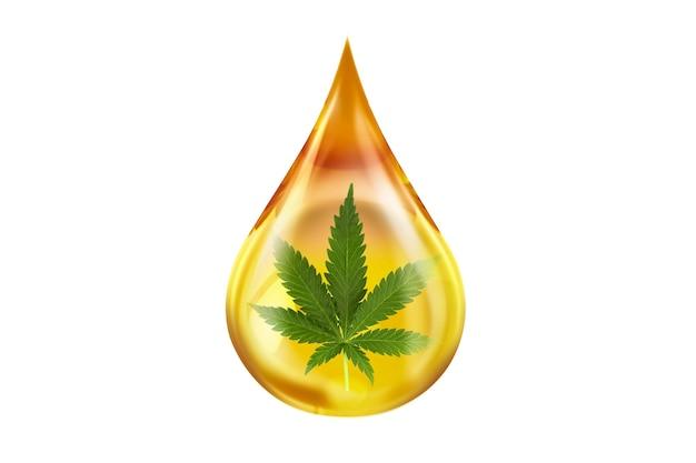 Close up on drop of cbd oil