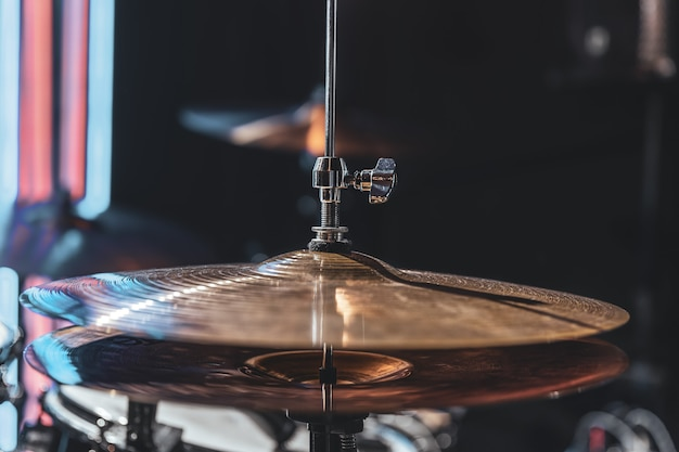 Close up of a drum cymbal, part of a drum kit copy space.