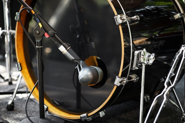 Close up drum microphone. drum set.