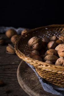 Close-up dry walnuts and hazelnuts
