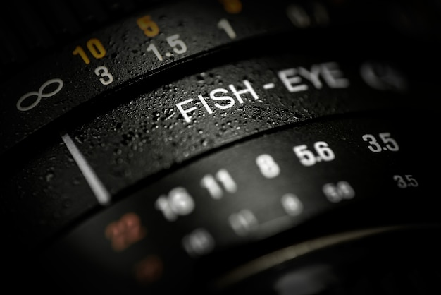 Close-up of dslr fishe-eye lens
