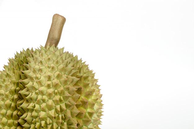 Плодоовощ дуриана конца-вверх на белой предпосылке, короле плодоовощ в юговосточном азиатском таиланде