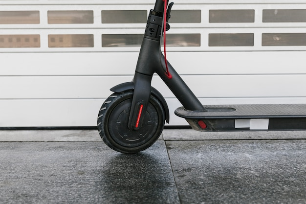Close up e-scooter front wheel