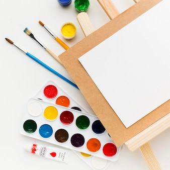 Close-up easel creativity and art concept