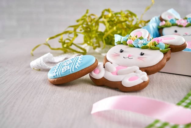 Close up of easter cookies in shape of bunny and egg