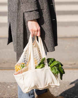 Close-up eco friendly bag with organic vegetables