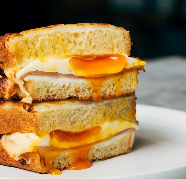 Close up of an egg sandwich