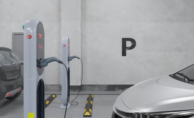 Зарядка электромобиля крупным планом