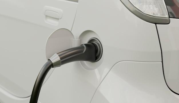 Зарядка модели электромобиля крупным планом
